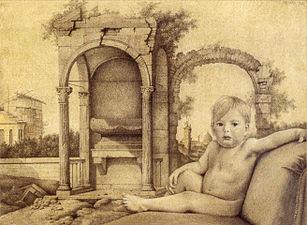 Für Kläuschen ein schöner Hintergrund von Canaletto, Joachim Kupke, Bleistift, Buntstift auf Papier, 1982.jpg