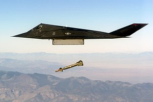 Lockheed F-117 Nighthawk - An F-117 conducts a live exercise bombing run using GBU-27 laser-guided bombs.