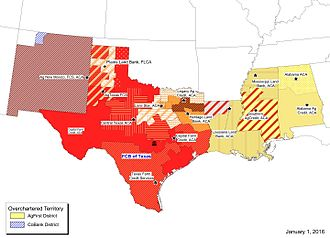 Farm Credit Bank of Texas - Charter territory