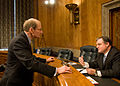 FEMA - 34354 - FEMA Deputy Administrator speaking with Senator Prior in hearing room.jpg