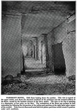 Fairmont San Francisco - Damage to the fifth floor from the 1906 earthquake