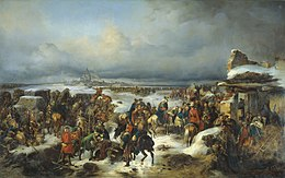 Painting of ragged Prussian soldiers retreating through a winter landscape after abandoning Kolberg