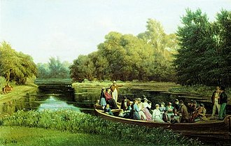 "Esrum Å - ""The Puggård family sailing on Esrum Canal"" painting by Jørgen V. Sonne (c. 1890)"
