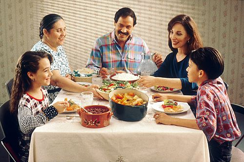 Mexican American family eating a meal Family eating meal.jpg