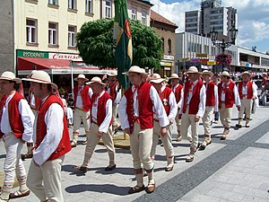 Polish Cultural and Educational Union - Gorol men's choir from Jabłonków during the parade at the beginning of the Jubileuszowy Festiwal PZKO 2007 in Karwina.