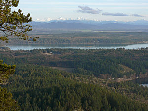 Fidalgo Island - Southeastern Fidalgo Island with Lake Campbell (lower right) and Swinomish Indian Reservation just beyond Similk Bay (middle)