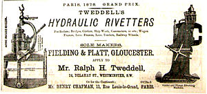 Fielding & Platt - An 1880 advert for the firm extolling its manufacture of Tweddell's Hydraulic Rivetters.