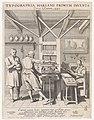 Figuren bij een drukpers Typographia Harlemi primum inventa cira annum 1440, RP-P-OB-103.257.jpg