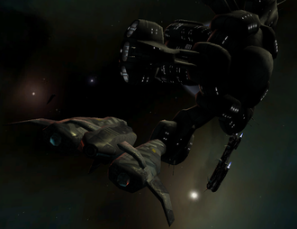 Space flight simulation game - Vega Strike, a space flight simulator game: a Llama class ship docks on a mine base (2008)