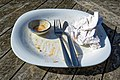 Finished meal empty plate at Highgate Cricket Club, Crouch End, angle view.jpg