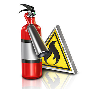 Electrical safety standards - Image: Fire extinguisher with sign