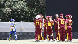 Queensland Fire - The Fire celebrating a wicket versus the ACT Meteors.
