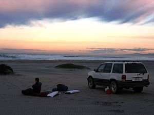 Camp on the beach NW o Punta Colonet, Baja California.