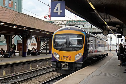 A First TransPennine Express Class 185, at platform 4, with a service to Manchester Airport First TransPennine Class 185, 185135, Manchester Oxford Road railway station (geograph 4020146).jpg
