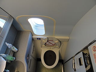 Aircraft lavatory A small room on an aircraft with a toilet and sink