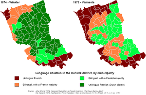 West Flemish - Flemish (green) and French (red/brown) as spoken in the arrondissement of Dunkirk in France, in 1874 and 1972