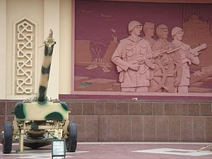 6th of October Panorama - Mural of Egyptian army and cannon at the Panorama