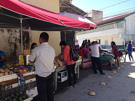 Food stands in San Ignacio, Belize