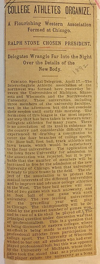 Intercollegiate Athletic Association of the Northwest - Image: Formation of Intercollegiate Athletic Association of the Northwest