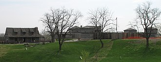 """Fort Osage - Fort Osage from the west. The """"factory"""" trading post is on the left."""