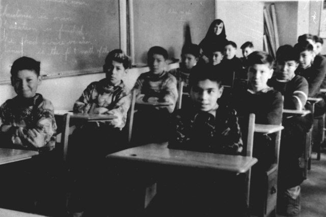 Fort Albany Residential School Students in a classroom, From WikimediaPhotos