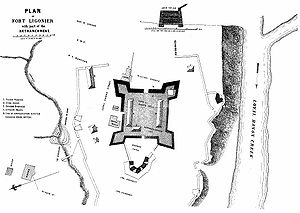 Battle of Fort Ligonier - Plan of Fort Ligonier from an 1896 publication