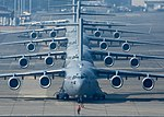 Four C-17 Globemaster III's and an Airbus A400M line up in preparation for Mobility Guardian's elephant walk.jpg