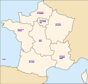 European Parliament election, 2004 (France) - Map showing the number of MEPs and their parties by electoral district. One square represents one seat