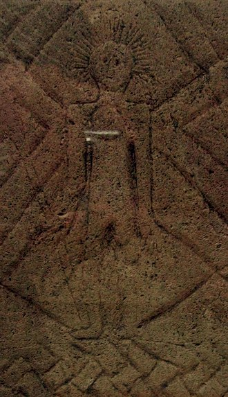 Christianisation of the Germanic peoples - Figure carved on the Frankish grave stele of Königswinter (seventh century), known as the earliest material witness of Christian presence in the German Rhineland; the figure is presumably a depiction of Christ as a heroic warrior wielding a lance, with a halo or crown of rays emanating from his head.