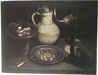 Still Life with Bearded Man Crock, Lamp, Olives and Sweetmeats