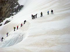 mountaineers roped together on a glacier, learning how to move safely