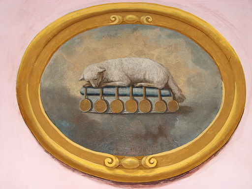 Fresco of Agnus Dei in Greek Catholic Cathedral of Hajdudorog
