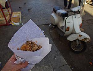 Frittula - Frittula in Ballaro market Palermo, Sicily