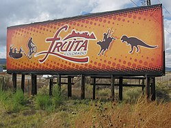 Interstate 70 sign at Fruita exit.