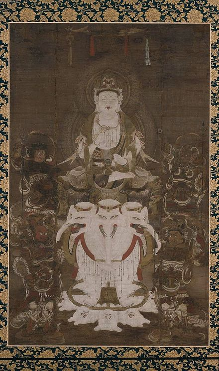 Bodhisattva Fugen Enmei, 12th-century painting on silk, late Heian period Fugen enmei painting.jpg