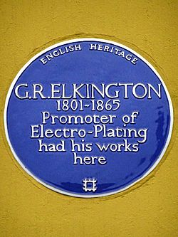 G. r. elkington 1801 1865 promoter of electro plating had his works here