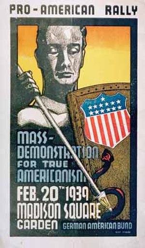 German American Bund - German American Bund rally poster at Madison Square Garden, February 20, 1939