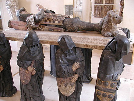 Tomb of Philippe Pot with life sized hooded pleurants. Philippe was governor of Burgundy under Louis XI GD-FR-Paris-Louvre-Sculptures034.JPG