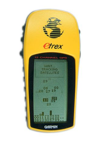 Garmin eTrex Yellow GPS acquiring satellite signal