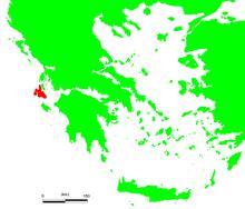 Localização de Cefalônia na Grécia