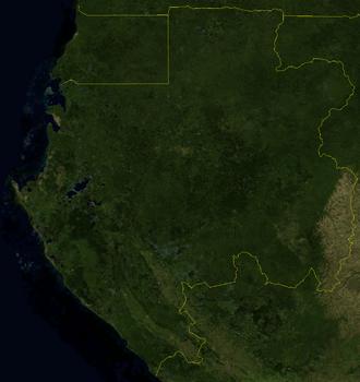 Outline of Gabon - An enlargeable satellite image of Gabon