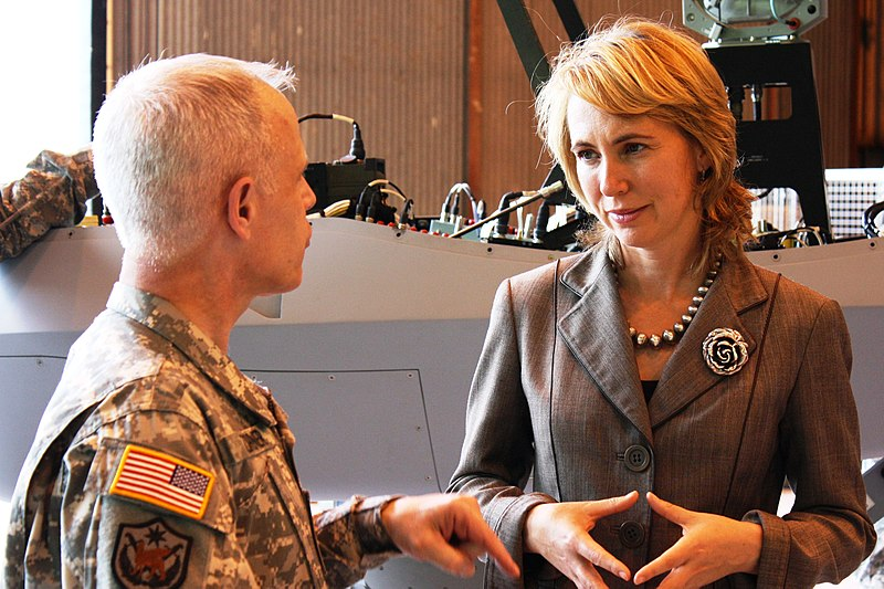 Gabrielle Giffords Speaking With A Military Officer