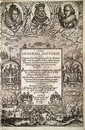 "Virginia Company - ""The Generall Historie of Virginia, New-England, and the Summer Isles"", by Capt. John Smith. The armorials of the Virginia Company are shown at far left"