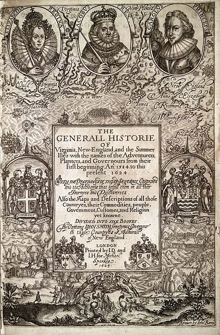 John Smith wrote one of the first histories of Bermuda in 1624 (combined with Virginia and New England). Generall Historie of Virginia.jpg
