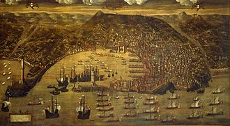 Republic of Genoa - A view of Genoa and its fleet by Christoforo de Grassi (1597 copy, after a drawing of 1481); Galata Museo del Mare, Genoa.