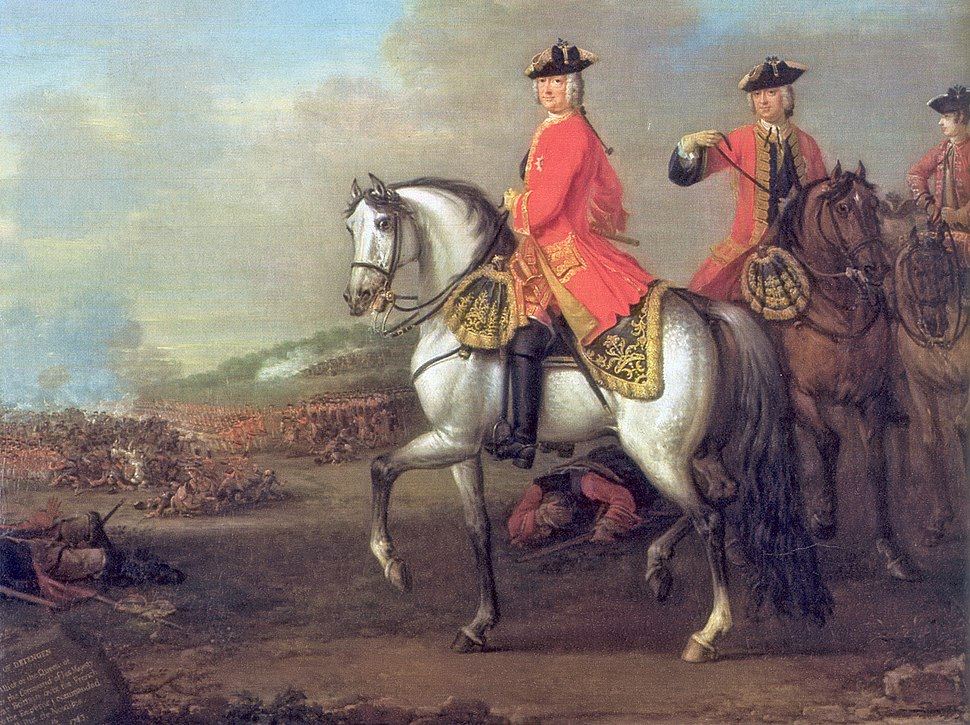 King George II at the Battle of Dettingen in 1743, by John Wootton. It remains the last time a British monarch personally led his troops into battle.