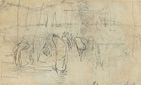 A freehand sketch of a group of figures