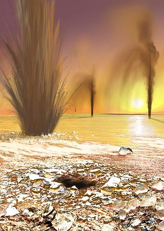 Geysers on Mars - Artist concept showing sand-laden jets erupting from Martian geysers. (Published by NASA; artist: Ron Miller.)