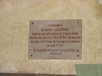 Robert Giguère - Close-up of plaque above the baptismal font