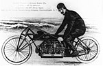 Glenn Curtiss on his V-8 motorcycle, Ormond Beach, Florida 1907.jpg